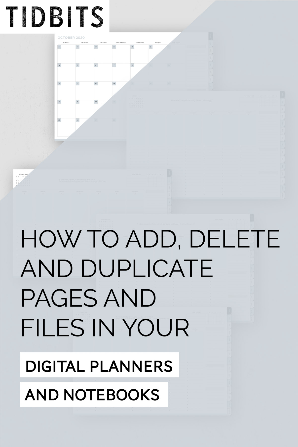 How to add, delete, duplicate pages and files in your digital planners and notebooks